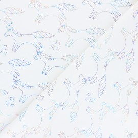 Stenzo French terry cotton fabric - raw Holographic Unicorn x 10cm