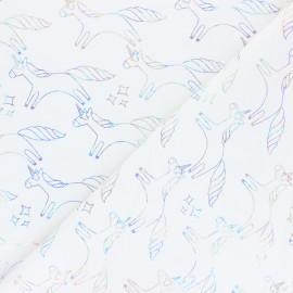 Tissu coton sweat léger Stenzo Holographic Unicorn - écru x 10cm