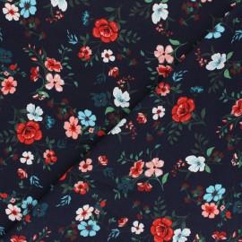 Tissu coton jersey Stenzo Wild Blossom - bleu marine x 10cm