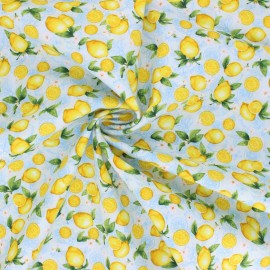 Timeless Treasures cotton fabric - sky blue Small Lemons x 10cm