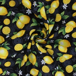 Timeless Treasures cotton fabric - black Sweet Lemons x 10cm