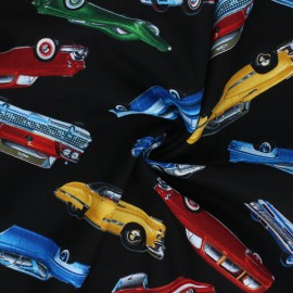Timeless Treasures cotton fabric - black Car Collection x 10cm