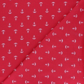 Printed Jersey fabric - red Jeter l'ancre x 10cm