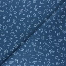 Cretonne Cotton fabric - blue Houston x 10cm