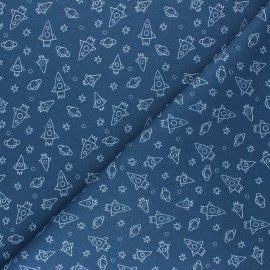 Tissu coton cretonne Houston - bleu x 10cm