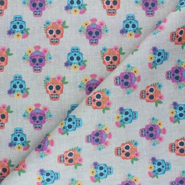 Cretonne Cotton fabric - natural Colorful calaveras x 10cm