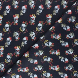 Cretonne Cotton fabric - black Flowery skull x 10cm