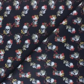Tissu coton cretonne Flowery skull - noir x 10cm