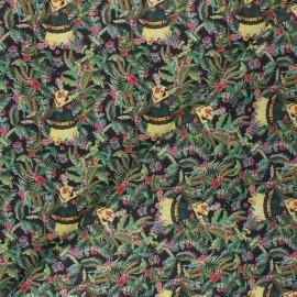 Tissu coton cretonne Tropical Frida - noir x 10cm