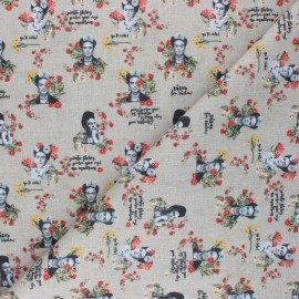 Cretonne Cotton fabric - sand Vintage Frida x 10cm