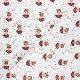 Cretonne Cotton fabric - white Floral Frida x 10cm
