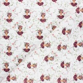 Tissu coton cretonne Floral Frida - blanc x 10cm
