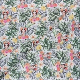 Cretonne Cotton fabric - white Frida Amazonia x 10cm