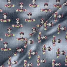 Cretonne Cotton fabric - black Frida Gall x 10cm