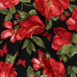 Tissu coton Timeless Treasures - Les Floralies - noir x 10cm