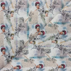 Cretonne Cotton fabric - beige Frida Artista x 10cm