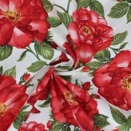 Tissu coton Timeless Treasures - Les Floralies - écru x 10cm