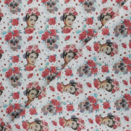 Cretonne Cotton fabric - light grey Frida Catrina x 10cm