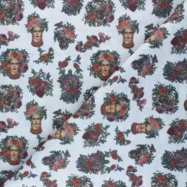 Cretonne Cotton fabric - light grey Frida Calaveras x 10cm