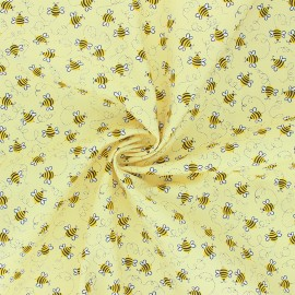 Timeless Treasures cotton fabric - yellow Happy Bee x 10cm