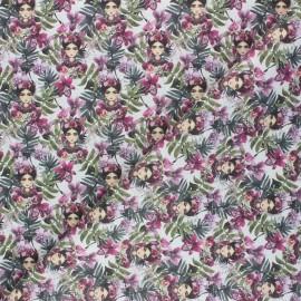 Tissu coton cretonne Frida Magda - blanc x 10cm