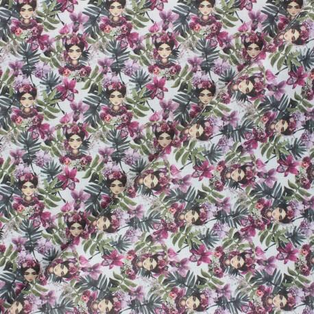 Cretonne Cotton fabric - white Frida Magda x 10cm