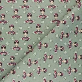 Cretonne Cotton fabric - sage green Frida Carmen x 10cm