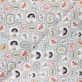 Cretonne Cotton fabric - light grey Frida Mexicana x 10cm