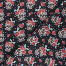 Cretonne Cotton fabric - black Flowery Calaveras x 10cm