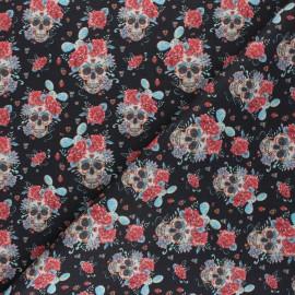 Tissu coton cretonne Flowery Calaveras - noir x 10cm