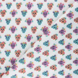 Cretonne Cotton fabric - white Floral Calaveras x 10cm