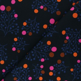 French terry fabric - black Snowberry x 10cm