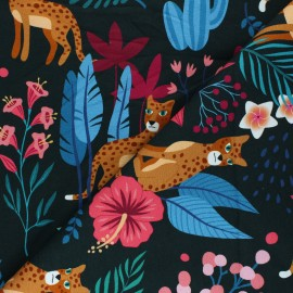 French terry fabric - black Sparkle in the Jungle x 10cm