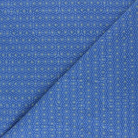 Printed Jersey fabric - cobalt blue Hexago x 10cm