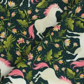 Printed sweatshirt fabric - pine green Forest Unicorn x 10cm