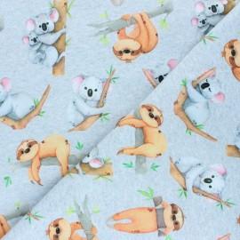 Printed sweatshirt fabric - mocked grey Sloth Love x 10cm
