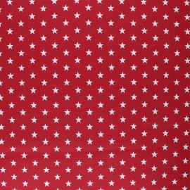 Poppy Coated cretonne cotton fabric - red Petit Stars x 10cm