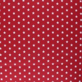 Tissu coton cretonne enduit Poppy Petit Stars - rouge x 10cm