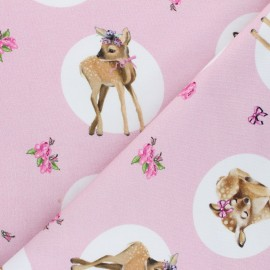 Stenzo jersey cotton fabric - pink Delicate Deer x 10cm