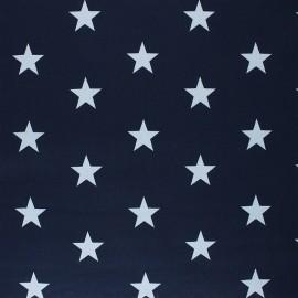 Poppy Coated cretonne cotton fabric - navy blue Stars x 10cm