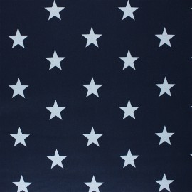 Tissu coton cretonne enduit Poppy Stars - bleu marine x 10cm