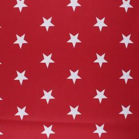 Tissu coton cretonne enduit Poppy Stars - rouge x 10cm