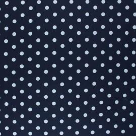 Tissu coton cretonne enduit Poppy Dots - bleu marine x 10cm