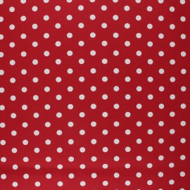 Poppy Coated cretonne cotton fabric - red Dots x 10cm