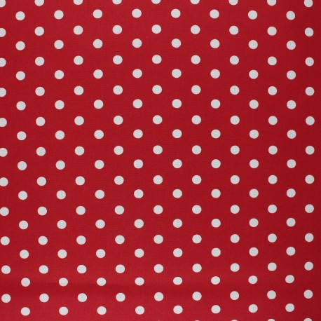 Tissu coton cretonne enduit Poppy Dots - rouge x 10cm