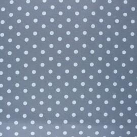 Poppy Coated cretonne cotton fabric - grey Dots x 10cm