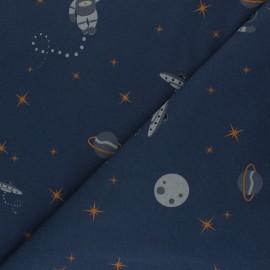 Tissu sweat à motifs Space Life - bleu marine x 10cm