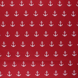 Poppy Coated cretonne cotton fabric - red Anchor Party x 10cm