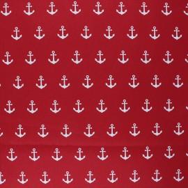 Tissu coton cretonne enduit Poppy Anchor Party - rouge x 10cm