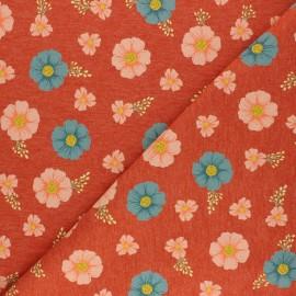Poppy Mocked Sweatshirt fabric - orange flowers B x 10cm